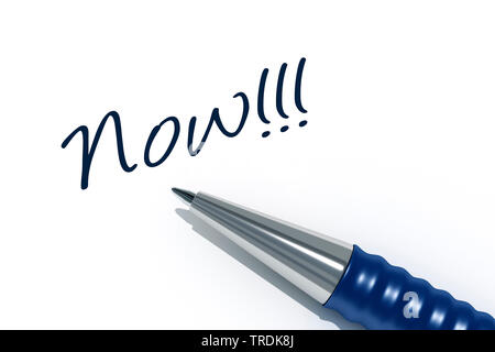 3D computer graphic, ball-pen on a white sheet of paper lettering NOW!!! - Stock Photo