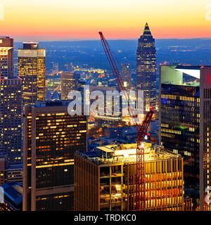 view from Main Tower to construction site in the financial district in the evening, Germany, Hesse, Frankfurt am Main - Stock Photo
