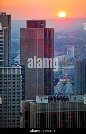 view from Maintower to financial district at sunset, Germany, Hesse, Frankfurt am Main - Stock Photo