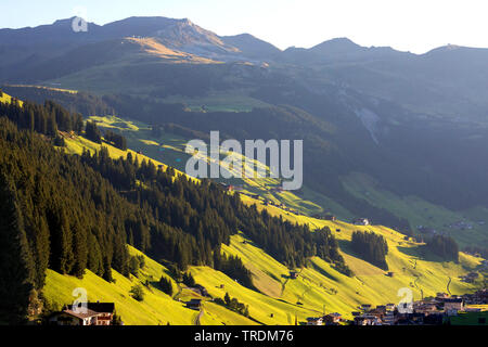 view of Lanersbach in the Zillertal, Austria, Tyrol - Stock Photo