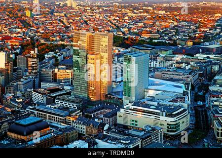 view from Maintower to the town in sunset, Germany, Hesse, Frankfurt am Main - Stock Photo