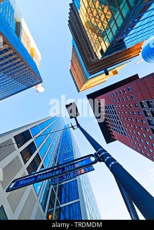 financial district with tower blocks from below, Neue Mainzer Strasse, Germany, Hesse, Frankfurt am Main - Stock Photo