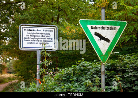 military area and nature reserve signs Wahner Heide, Germany, North Rhine-Westphalia, Bergisches Land - Stock Photo