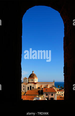 view of San Michele church in the old city, Italy, Sardegna, Alghero - Stock Photo
