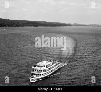 passenger ship Seeshaupt on lake Starnberg, aerial photo from the year 1961, Germany, Bavaria - Stock Photo