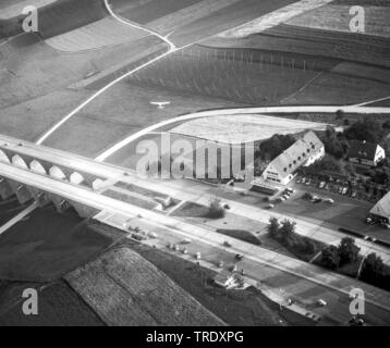 motorway station Holledau at motorway A9, aerial photo from the year 1961, Germany, Bavaria - Stock Photo