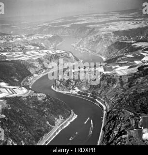 rock Loreley at river Rhine, aerial photo from 29.08.1961, Germany, Rhineland-Palatinate, Sankt Goarshausen - Stock Photo
