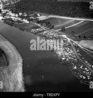 persons bathing in river Regen North of Regensburg, aerial photo from 02.09.1961, Germany, Bavaria, Ratisbon