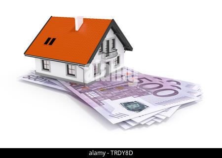 3D computer graphic, residental house standing on top of EURO banknotes - Stock Photo