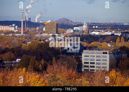 weiter Blick ueber Gelsenkirchen im Herbst, Deutschland, Nordrhein-Westfalen, Ruhrgebiet, Gelsenkirchen | view across the city Gelsenkirchen in autumn - Stock Photo