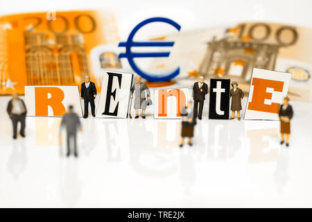 figures with Euro bills, Euro sign and the word Rente, retirement provision, Germany - Stock Photo