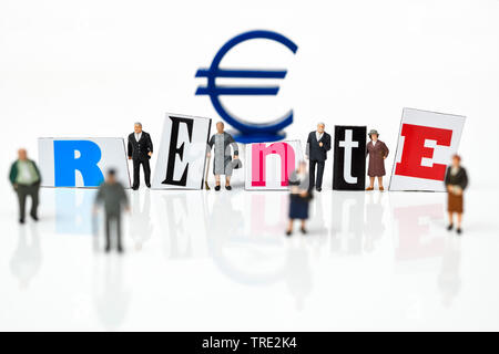 figures with Euro sign and the word Rente, retirement provision, Germany - Stock Photo