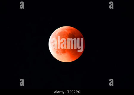 moon eclipse in Hamburg at 27.07.2018, Germany, Hamburg - Stock Photo