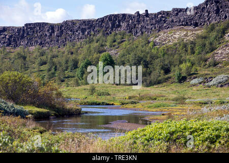 Almannagja, rift valley between the Eurasian and North-American plates, Iceland, Thingvellir National Park - Stock Photo