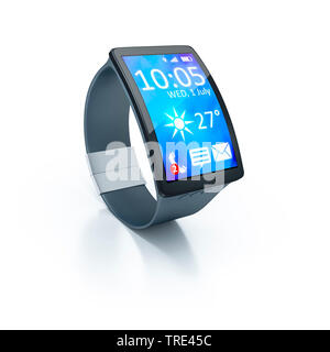 Smartwatch mit aktivem Bildschirm vor weissem Hintergrund | Smartwatch with activated screen against white background | BLWS516797.jpg [ (c) blickwink - Stock Photo