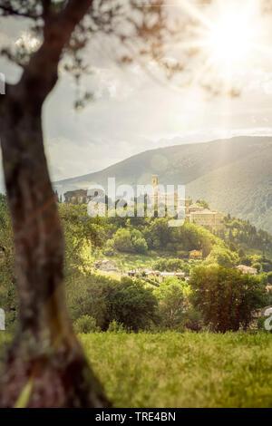 Landscape around the comune of San Severino in Marche, Italy, Marche, San Severino - Stock Photo