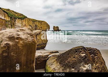 Tunnel beach nearby Dunedin, New Zealand, Otago, Dunedin - Stock Photo