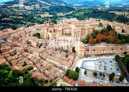 Aerial view of historic urban center of Urbino, Marche, Italy, Pesaro und Urbino, Urbino - Stock Photo