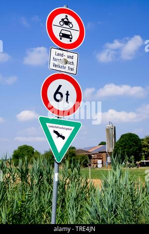 traffic signs at the edge of a field, jungle of signs, Germany, Hesse - Stock Photo