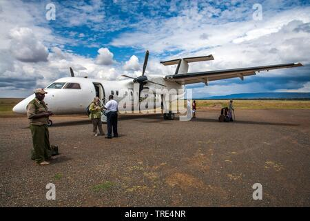 sports aircraft for the journey to the Masai Mara Bush Camp, Kenya, Masai Mara National Park - Stock Photo