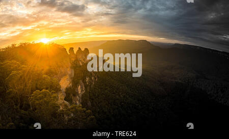 rock formation Three Sisters in the Blue Mountains at sunset, Australia - Stock Photo