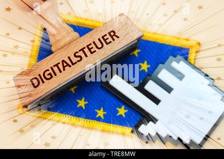 EU flag with stamp an cursor, digital tax, Germany - Stock Photo