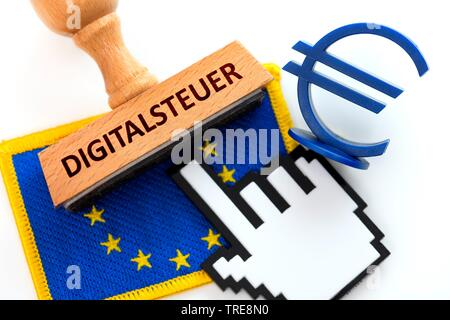 EU flag with stamp, cursor and Euro sign, digital tax, Germany - Stock Photo