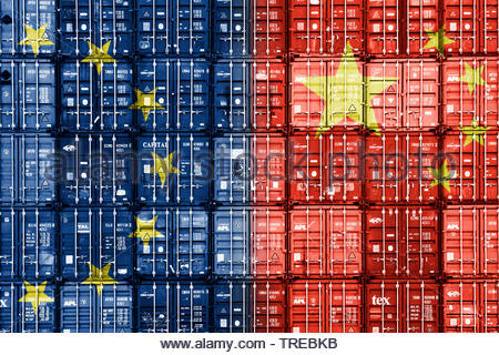 Stacked container showing European and Chinese flag on the front - trade deal - Stock Photo