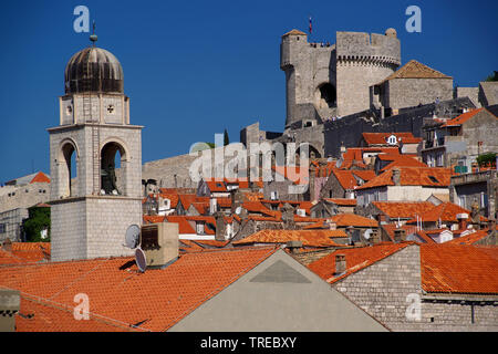 view onto town and castle, Croatia, Dubrovnik - Stock Photo