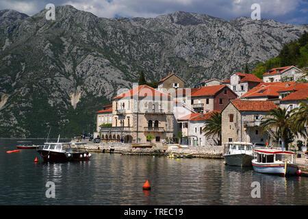 Perast, Isand Gospa, Montenegro, Perast - Stock Photo