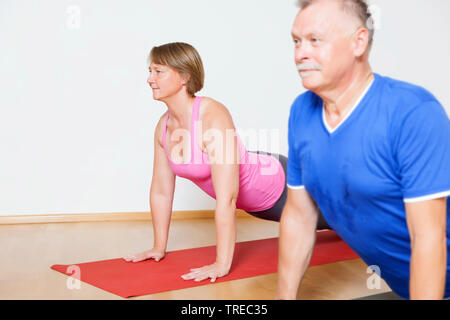 Frau und Mann machen Yoga-Uebungen, Europa | woman and man doing yoga, Europe | BLWS522583.jpg [ (c) blickwinkel/McPHOTO/M. Gann Tel. +49 (0)2302-2793 - Stock Photo