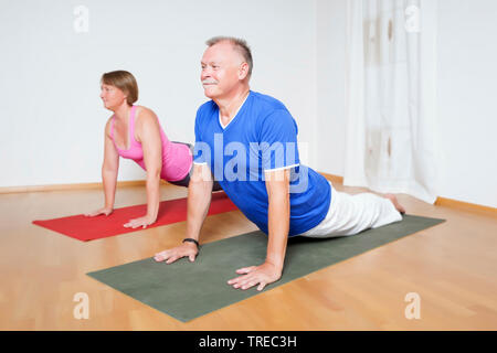 Frau und Mann machen Yoga-Uebungen, nach oben schauender Hund, Europa | woman and man doing yoga, up-facing dog, Europe | BLWS522587.jpg [ (c) blickwi - Stock Photo