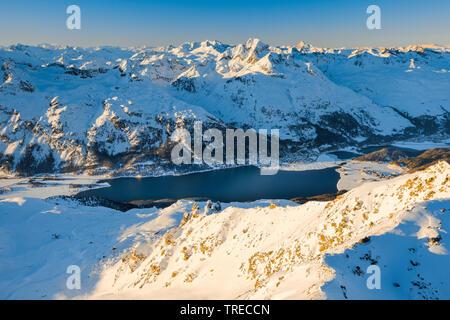 View from Piz Corvatsch - 3451m, Switzerland, Grisons, Oberengadin - Stock Photo
