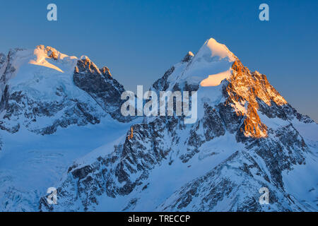 Piz Scerscen - 3971 m, Piz Roseg-3937 m, Switzerland, Grisons, Oberengadin - Stock Photo