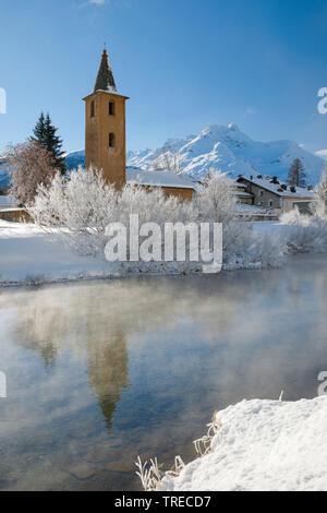 St. Lorenz Church in Sils, Switzerland, Grisons, Oberengadin - Stock Photo