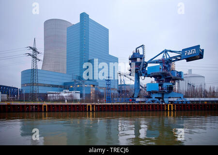 coal-fired power Station Datteln at the Dortmund-Ems Canal, coal phase-out 2038, Germany, North Rhine-Westphalia, Ruhr Area, Datteln - Stock Photo