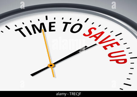 3D computer graphic, clock lettering TIME TO SAVE UP - Stock Photo