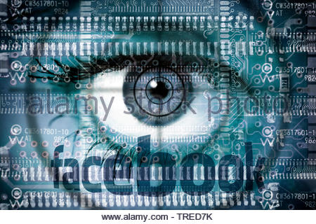 Computer grafic with eyeball and Facebook logo - protection of user data - Stock Photo