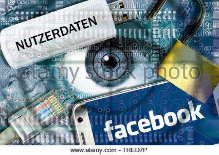 Computer grafic with eyeball, Facebook logo and USB drive - protection of user data - Stock Photo