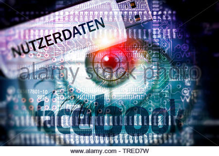 Computer grafic with red eyeball, Facebook logo and USB drive - protection of user data - Stock Photo