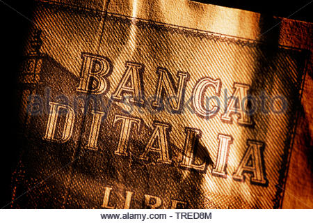 Old italian LIRA bill lettering BANCA DITALIA (Bank of Italy) - bank crisis, Bundesrepublik Deutschland - Stock Photo