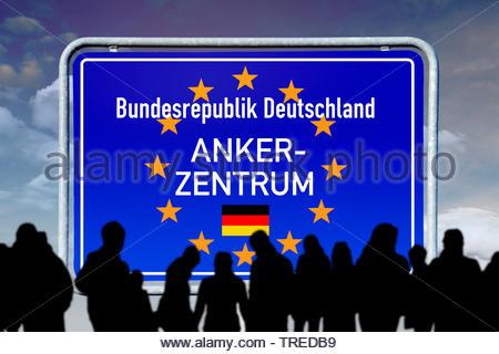 Grenzschild der Bundesrepublik Deutschland mit Europa-Sternen und Aufschrift ANKERZENTRUM | Boader sign of Germany with the stars of the European Unio - Stock Photo