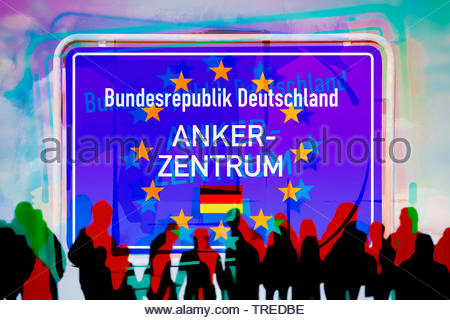 Boader sign of Germany with the stars of the European Union lettering ANKERZENTRUM (refugee centre) - Stock Photo