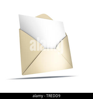 3D computer graphic, icon showing an envelope with a blank letter - Stock Photo