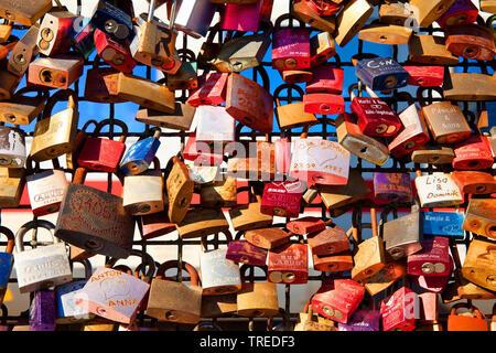 love locks on Hohenzollern Bridge, Germany, North Rhine-Westphalia, Cologne - Stock Photo