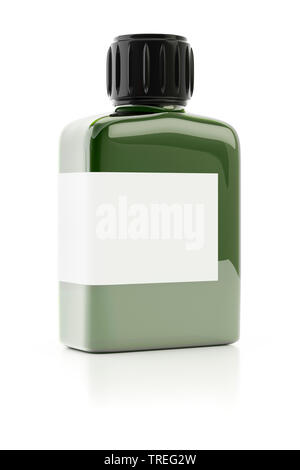 3D computer graphic, transparent plastic bottle filled with olive-green paint against white background - Stock Photo
