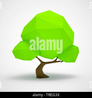 3D computer graphic, green low poly tree against white background - Stock Photo