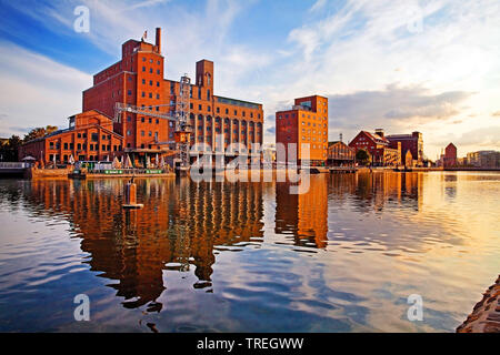 Duisburg inner Habour, Germany, North Rhine-Westphalia, Ruhr Area, Duisburg - Stock Photo