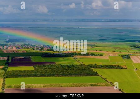 rainbow over North Frisian, aerial picture, Germany, Schleswig-Holstein, Northern Frisia - Stock Photo
