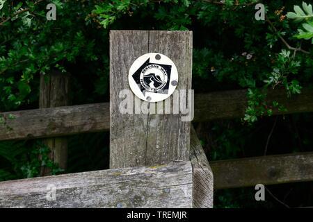 Beacons way bilingual Welsh English  footpath sign on an old wooden gate Ffordd y Bannau Wales Cymru UK